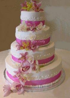 pink wedding cakes   Tiered Hot Pink Wedding Cake