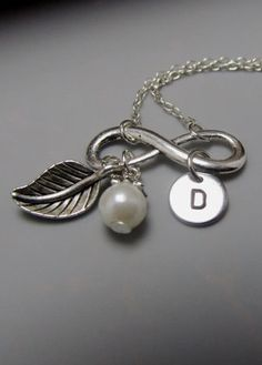 Infinity Monogram Necklace Personalized Initial