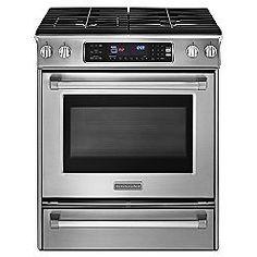 KitchenAid 30 in. Pro-Line™ Self-Clean Slide-In Gas Range Stainless Steel (KGSS907X)  $2042.50