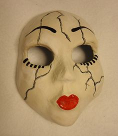 creepy painted paper mache mask - Google Search
