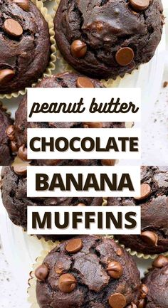 These are the BEST healthy chocolate peanut banana muffins EVER! I love that they are made with clean ingredients and the peanut butter flavor. They come out perfect and moist every time! I love the peanut butter banana flavor. My toddler is obsessed with them and so am I! #muffins