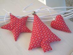 Weihnachtsdeko - 3er Stoff-X-Mas Set in rot - ein Designerstück von allesausliebe bei DaWanda