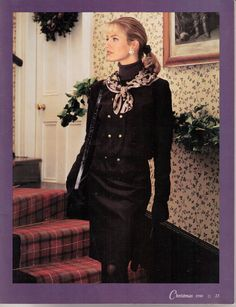 Laura Ashley Pincord suit in amethyst from the 1990 Holiday catalogue, page 23.