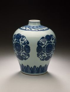 Jar (Ping) with Chrysanthemum Medallions China, Jiangxi Province, Jingdezhen, Chinese, Qing dynasty, Yongzheng mark and period, 1723-1735 Furnishings; Serviceware Wheel-thrown porcelain with blue painted decoration under clear glaze Height: 5 1/2 in. (13.97 cm) Gift of Edwin C. Vogel (54.46.4) Chinese Art