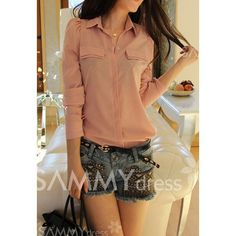 Solid Color Puff Sleeves Shirt Neck Polyester Refreshing Style Shirt For Women