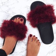 Nike slides + faux fur + glue