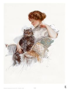 Harrison Fisher prints - especially this series of women and cats