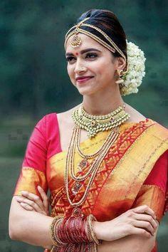 Bollywood glamour queen Deepika Padukone always love to wear Indian silk saree. Deepika Padukone Saree, Shraddha Kapoor, Priyanka Chopra, Ranbir Kapoor, Deepika Ranveer, Ranveer Singh, Chennai Express, South Indian Bridal Jewellery, Indian Bridal Wear