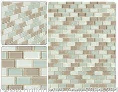 BuildDirect: Glass Mosaic Mosaic Tiles   Crystalized Glass Blend 4mm Series   Majestic Ocean Brick Blend