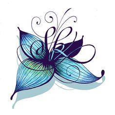 modèle tatouage couleurs lettres et fleurs