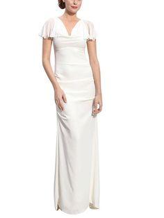 white sheath wedding dress in chiffon by elliot claire london | notonthehighstreet.com