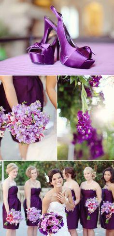 purple wedding shoes, purple flowers, and purple bridesmaid dresses