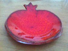 """Pomegranate 4"""" Plate Rosh Hashanah Honey Dish Ceramic glaze Handmade Judaica"""