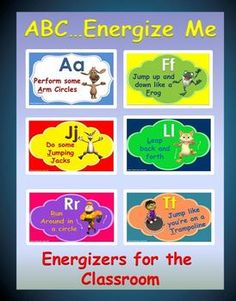 "The following activity; ""ABC…Energize Me"" is a ""high energy, fun and organized"" classroom activity that gives your students a chance to move their bodies in a number of ways, while learning to recognize the Upper and Lower Case letters of the Alphabet."