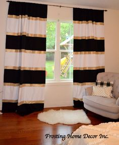 Custom Black White and Gold Striped Curtains Color Blocked Nursery Curtains Striped Home Decor Black Striped Curtains Gold Home Decor Black White And Gold Bedroom, Black And Gold Living Room, Black Gold Decor, Gold Home Decor, Diy Home Decor, Bedroom Black, White Gold, Gold Gold, Color Block Curtains
