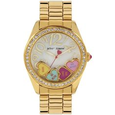 Betsey Johnson Women's Gold-Tone Bracelet Watch 40mm BJ00048-181 (£39) ❤ liked on Polyvore featuring jewelry, watches, gold, gold-tone watches, yellow gold watches, gold watch bracelet, gold tone jewelry and gold heart jewelry