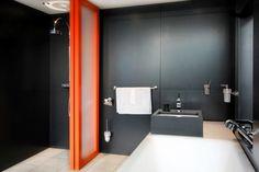 Sliding Simplicity - Modern Bathrooms - Photos