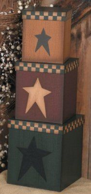 """3 Primitive Coutry Rectangular / Square Nesting Boxes - Primitive Folk Art Stars - Large 21 1/2"""" High When Stacked - Perfect for Primitive Country Home Decor:Amazon:Home  Kitchen"""