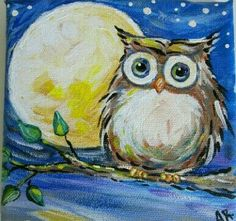 Owl Painting on Canvas Night Owl Original por IntoTheBluePaintShop Owl Canvas, Canvas Art, Canvas Ideas, Painting For Kids, Painting & Drawing, Watercolor Painting, Art Amour, Wine And Canvas, Easy Paintings