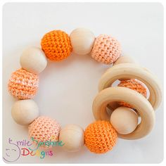 Crochet and Wood Teething Toy - Chewable, Gummable and Junk Free