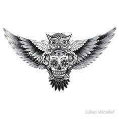 sugar skull owl tattoo - Cerca con Google