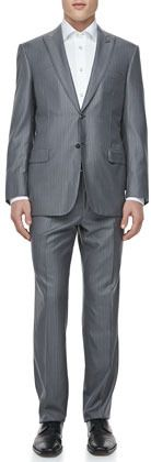 Brioni Tonal-Striped Two-Piece Suit, Gray Expensive Suits, Striped Two Piece, Sport Coat, Neiman Marcus, Suit Jacket, Gray, My Style, Long Sleeve, Sleeves