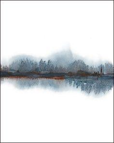Paysage abstrait peinture aquarelle gris noir blanc marron