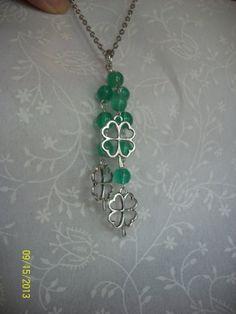 Green Beaded Shamrock Tassel Pendant / Key Chain by DysfunctionalAries, $22.00