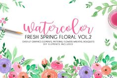 Watercolor fresh spring floral vol.2 by Daria Bilberry on @creativemarket