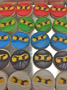Set includes 15 large cookies 3 of each color (red blue black white green). Our cookies are baked soft hand decorated in sweet vanilla bean glaz Lego Ninjago Cake, Ninjago Party, Lego Cake, Karate Birthday, Ninja Birthday Parties, Birthday Fun, Mermaid Birthday, Birthday Ideas, Deco Lego