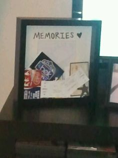 Memory shadow box to keep meaningful ticket stubs in- My nostalgic self loves keeping tickets from almost everything I do, what a great idea to display them instead of storing them away in a box! Just put a slit in the top of the frame and drop em in