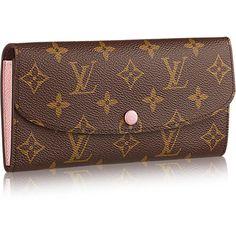 Emilie Wallet (4 050 SEK) ❤ liked on Polyvore featuring bags, wallets, pocket wallet, lining bag, monogram canvas bag, brown canvas bag and canvas wallet
