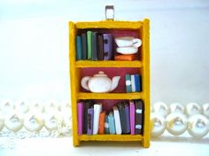 Spot of Tea Tea Shop Bookshelf Necklace Book by Coryographies