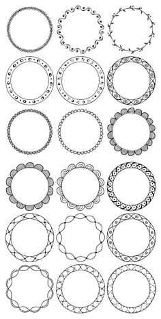 Set of 90 hand drawn decorative round frames with tribal, boho, geometric and floral design elements. - 20 Vector EPS Files with 10 circle frames (black Mandala Art Lesson, Mandala Drawing, Mandala Doodle, Floral Doodle, Zentangle Patterns, Mandala Pattern, Zentangles, Circle Pattern, Watercolor Unicorn