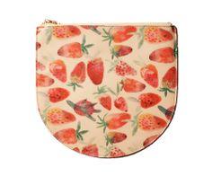 Strawberry Print Leather Zipper Clutch