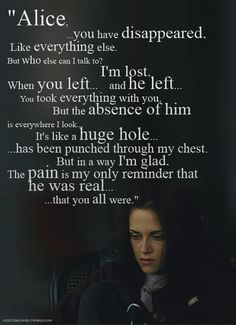 "after reading the book I thought I'd be prepared for Edward leaving Bella for her safety....but this scene with the music in the background, and the sounds of her crying out in her sleep still have me in tears when I watch the movie ""The Twilight Saga New Moon""."