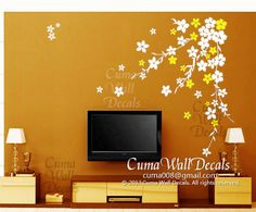 Can choose white and pink.....white cherry  blossom wall decals flower vinyl wall decals by cuma, $47.00