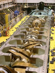 "supplyside: ""The open crankcase and crankshaft of a Wärtsilä-Sulzer 12 cylinder marine diesel "" Industrial Machinery, Heavy Machinery, Mechanical Design, Mechanical Engineering, Marine Diesel Engine, Motor Diesel, Marine Engineering, Merchant Marine, Race Engines"