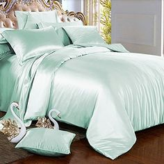 Relaxico Bedding Hotel Quality Silky Soft Luxurious Satin 4 Pc Sheet Set Wrinkle and Fade Resistant, Hypoallergenic Breathable Comfort Satin Bedding Set !Twin, Mint * You can find out more details at the link of the image. (This is an affiliate link) Bed Sheets Online, Cheap Bed Sheets, Bedding Sets Online, King Bedding Sets, Satin Bedding, Matching Bedding And Curtains, Grey Bedding, Luxury Bedding, Best Duvet Covers