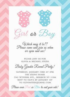 Cute gender reveal invitation template. | Baby Gender Reveal Party ...