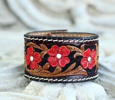 Black & Brown Leather Tooled Cuff with Red by JimbosTexasVintage, $20.00