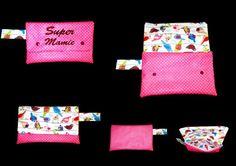 trousse coton enduit rose à pois blanc brodé Super mamie : Trousses par babanou84