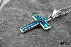 Taxco .950 HD Sterling silver OPAL GREEN Cross. by PrinceOfTaxco