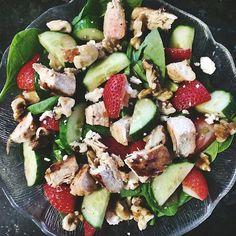 Tonight's salad  spinach, strawberries, walnuts, cucumbers, light feta, grilled chicken #Padgram
