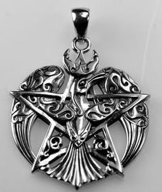 Celtic knot Pentacle Moon Pentagram Raven Crown wings Real Genuine authentic Sterling silver 925 pendant Charm jewelry Gothic witch amulet. $45.26, via Etsy.