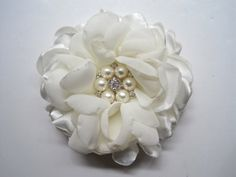 Stunning Ivory Satin and Chiffon Bridal Flower by theraggedyrose