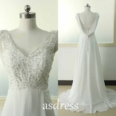 Elegant Ivory Lace wedding dress Ivory A-line wedding by ASDRESS