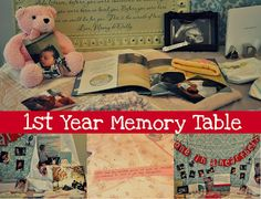 1st Year Memory Table at a first birthday party.