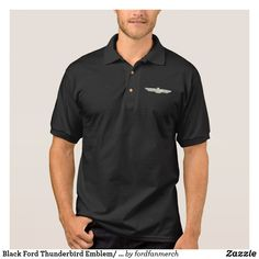 Black Ford Thunderbird Emblem/ Logo 50s Car Polo Shirt #zazzle #mrtbird #thunderbird #fordclassiccars #1950s #classiccars #giftsformen