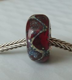 Silver Core Options - Red Silver Foil Handmade Lampwork Glass European Charm Bead - Self Representing Artist